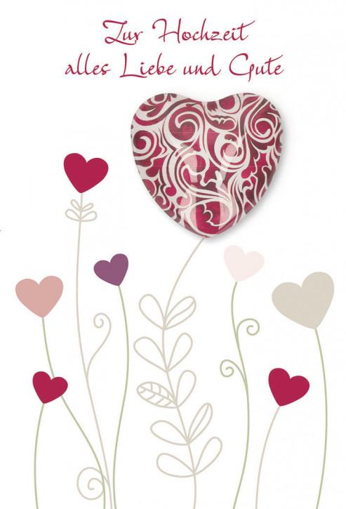 Glückwunschkarte mit dunkelrotem Herz-Magnet Zur Hochzeit alles Gute