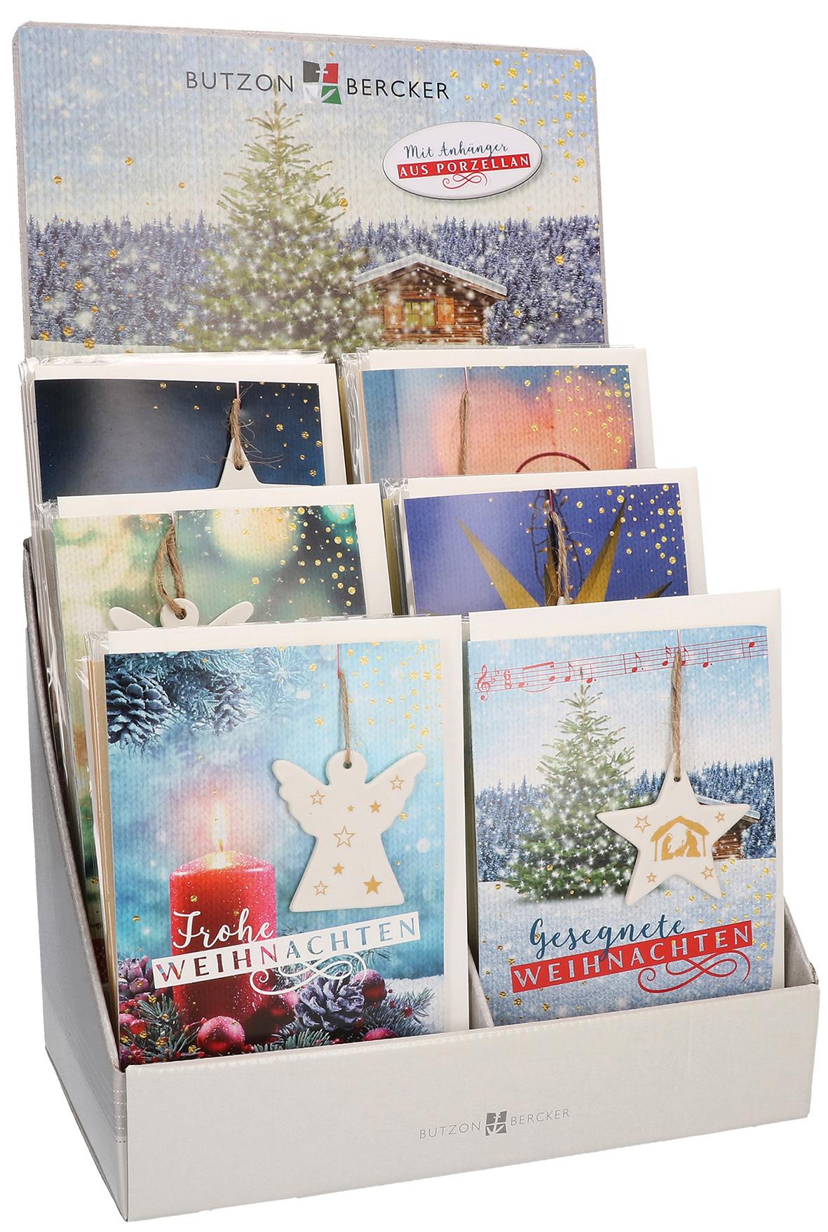 display weihnachtskarten mit porzellan anh nger. Black Bedroom Furniture Sets. Home Design Ideas