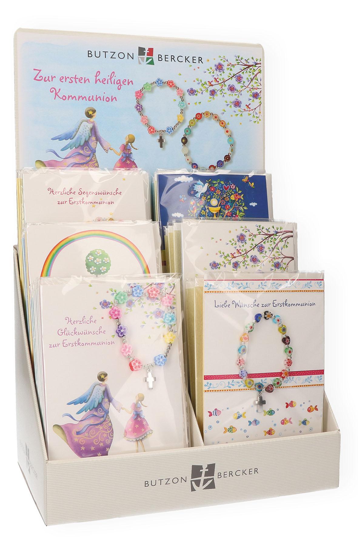 Display Kommunionkarten mit Armbändern