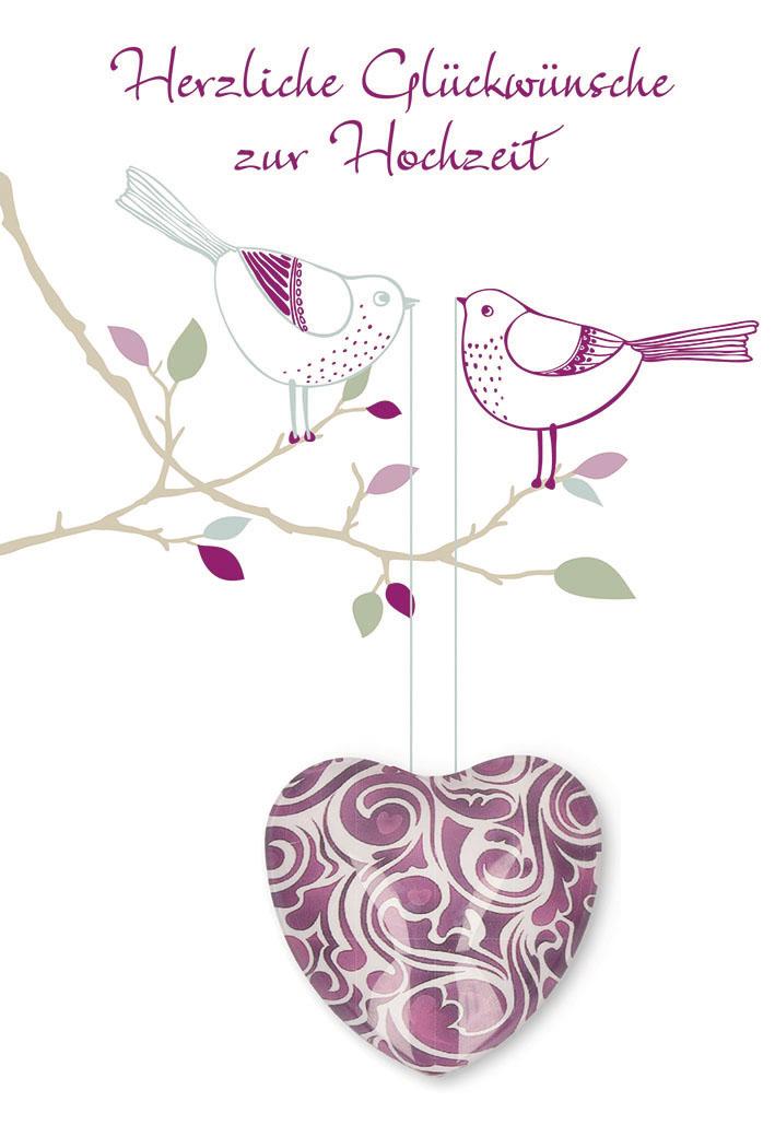 Gluckwunschkarte Mit Lila Herz Magnet Herzliche Gluckwunsche Zur