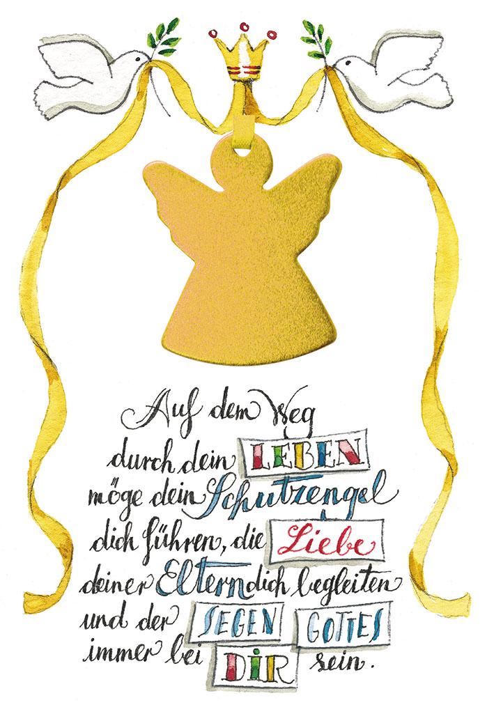 Glückwunschkarte zur Taufe Schutzengel