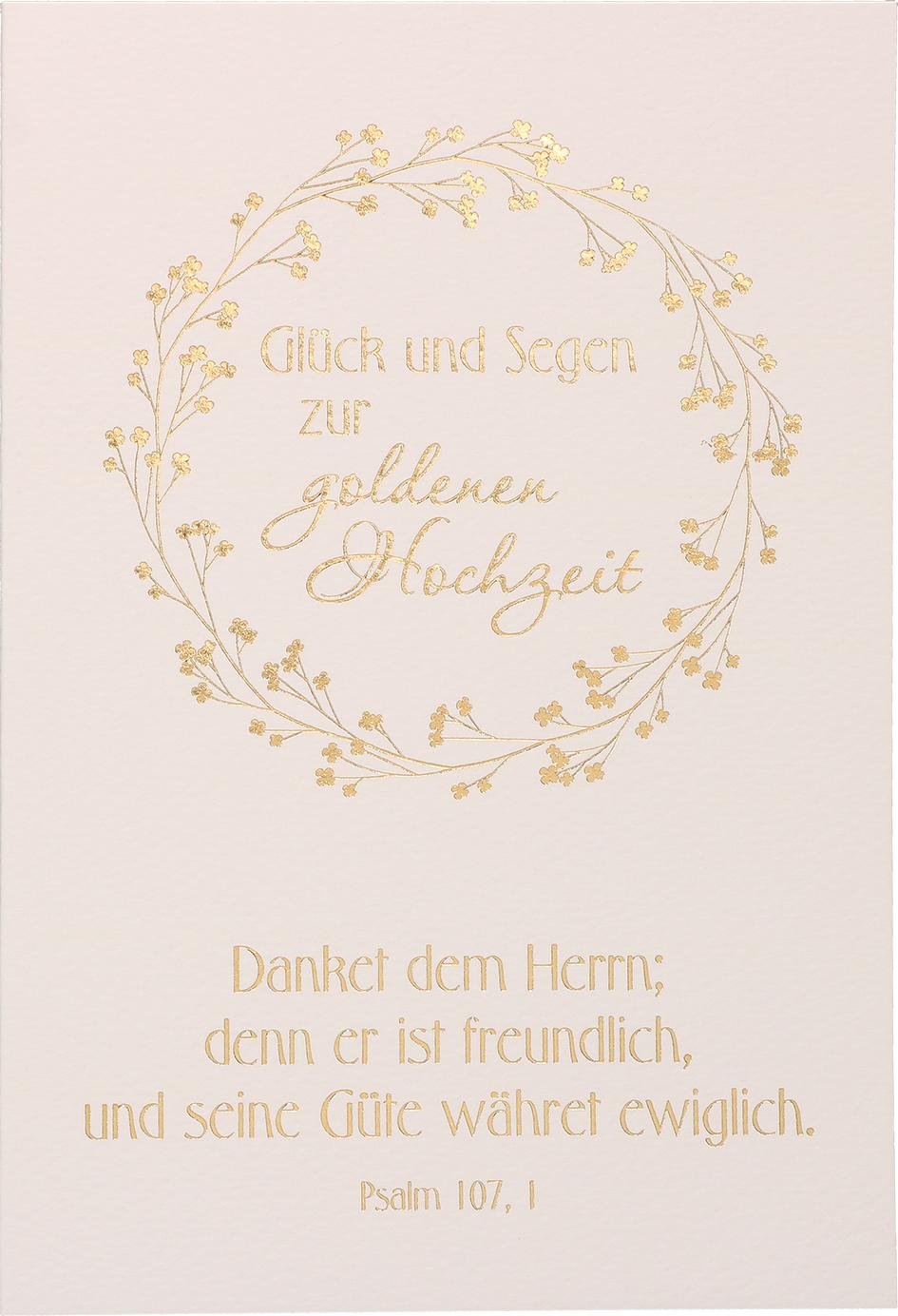 Glückwunschkarter Glück Und Segen Zur Goldenen Hochzeit