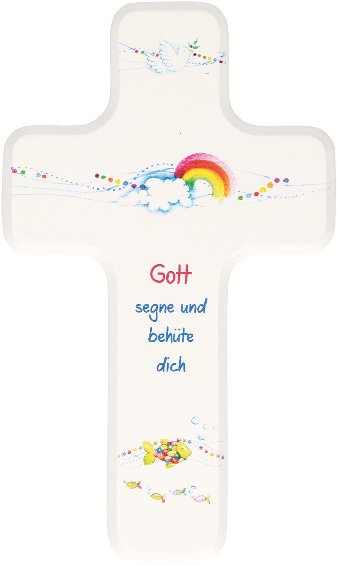 Butzon /& Bercker Kinderkreuz Gott segne und besch/ütze Dich Holzkreuz 18 cm Geschenkverpackung