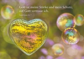 Mit Bibelwort/ Herzseifenblase